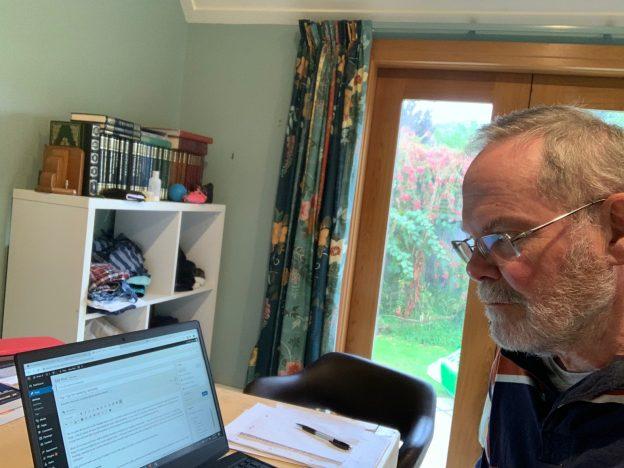 Eddie working remotely